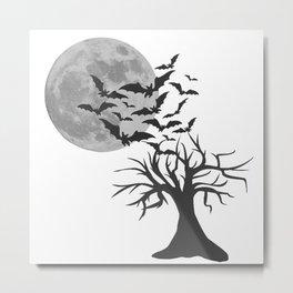Creepy tree with bats, Halloween, scary motif, Halloween party Metal Print