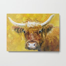 Cow With Horns Metal Print