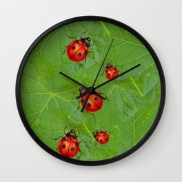 RED LADY BUGS ON GREEN LEAVES DESIGN ART Wall Clock