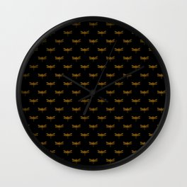 Golden Dragonfly Repeat Gold Metallic Foil on Black Wall Clock
