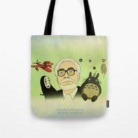 hayao miyazaki Tote Bags featuring Hayao Miyazaki by Borja Espasa