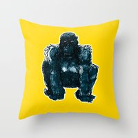 gorilla Throw Pillows featuring gorilla by jenapaul