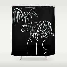 Tiger On The Rock - Black & White Palette Shower Curtain