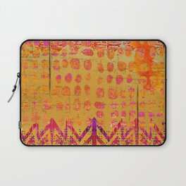 Gold and Orange Dot Abstract Art Collage Laptop Sleeve