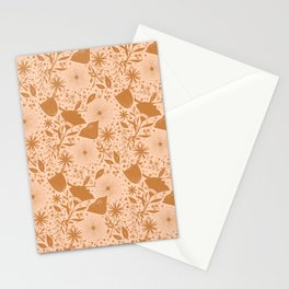 Wildflowers Repeat Pattern Ocher Blush Pink Cottagecore Simple Life Stationery Cards