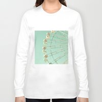 ferris wheel Long Sleeve T-shirts featuring Winter Ferris Wheel  by Caroline Mint