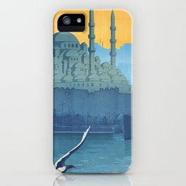 Mid Century Modern Travel Vintage Poster Istanbul Turkey Grand Mosque iPhone Case