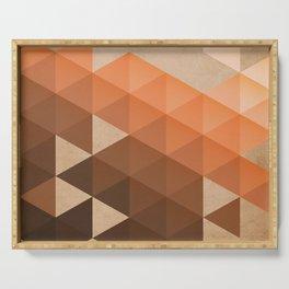 Warm Brown  -  Geometric Triangle Pattern Serving Tray