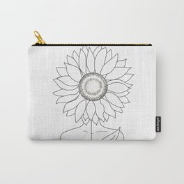 Minimalistic Line Art of Woman with Sunflower Carry-All Pouch
