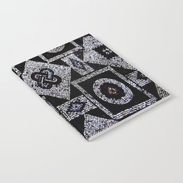 Black White Blue Red Mosaic Print Notebook