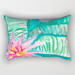 Pink Flowering Bromeliad Rectangular Pillow
