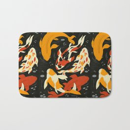 Koi in Black Water Bath Mat