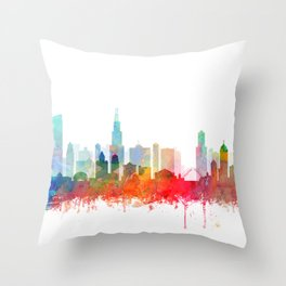 Chicago City Skyline Watercolor by zouzounioart Throw Pillow