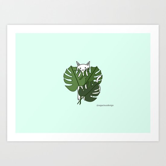 Cat hidden in the palm leaves Art Print
