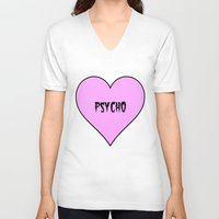 psycho V-neck T-shirts featuring Psycho by fyyff