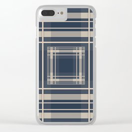 Simple beige blue plaid Clear iPhone Case