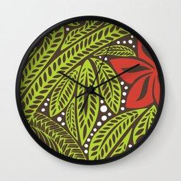 Polynesian flower floral green red tattoo design Wall Clock