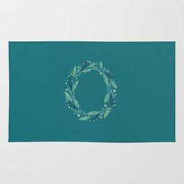 Turquoise flowers alphabet O Rug