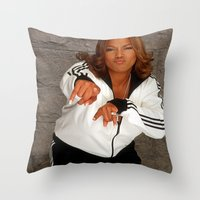 wiz khalifa Throw Pillows featuring Wiz Latifah by 6triangles