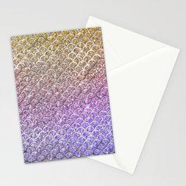 Pastel Glitter Mermaid Scallops Pattern Stationery Cards