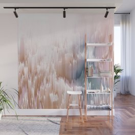 Etherial light in blush and blue - Glitch art Wall Mural