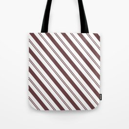Pantone Red Pear and White Stripes Angled Lines Tote Bag