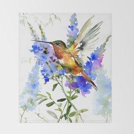 Alen's Hummingbird and Blue Flowers Throw Blanket