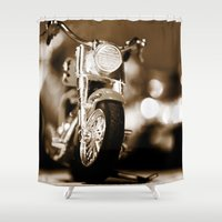 motorbike Shower Curtains featuring Motorbike-Sepia by Yar's Photography