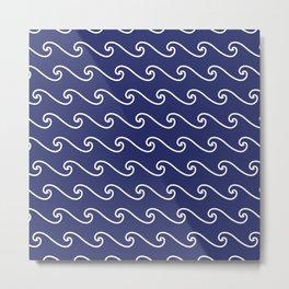 Wave Pattern | Waves | Nautical Patterns | Navy Blue and White | Metal Print