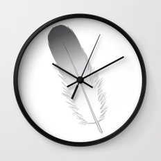 White Fuzz Feather Wall Clock