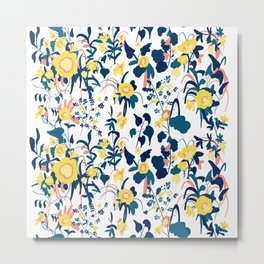 Buttercup yellow, salmon pink, and navy blue flowers on white background pattern Metal Print