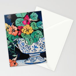 Nasturtium Bouquet in Chinoiserie Bowl on Dark Blue Floral Still Life Painting Stationery Cards