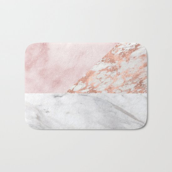 Mixed pinks rose gold marble Bath Mat