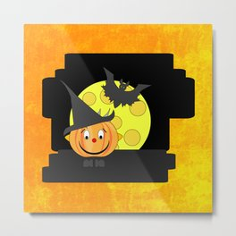Funny smiling pumpkin head with bat and moon Metal Print