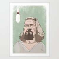 lebowski Art Prints featuring Lebowski by Hero of Switzwerland / Dan Button //