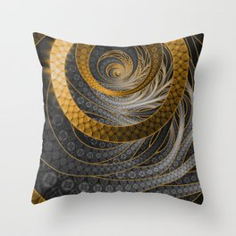 Banded Dragon Scales of Black, Gold, and Yellow Throw Pillow