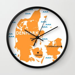 Denmark Map Wall Clock