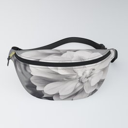 Black and White Dahlia Flower Photography, Grey Floral, Gray Neutral Nature Petals Fanny Pack