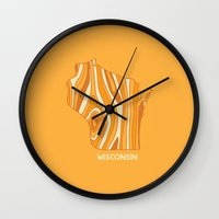 wisconsin Wall Clocks featuring Wisconsin by Out There Studio