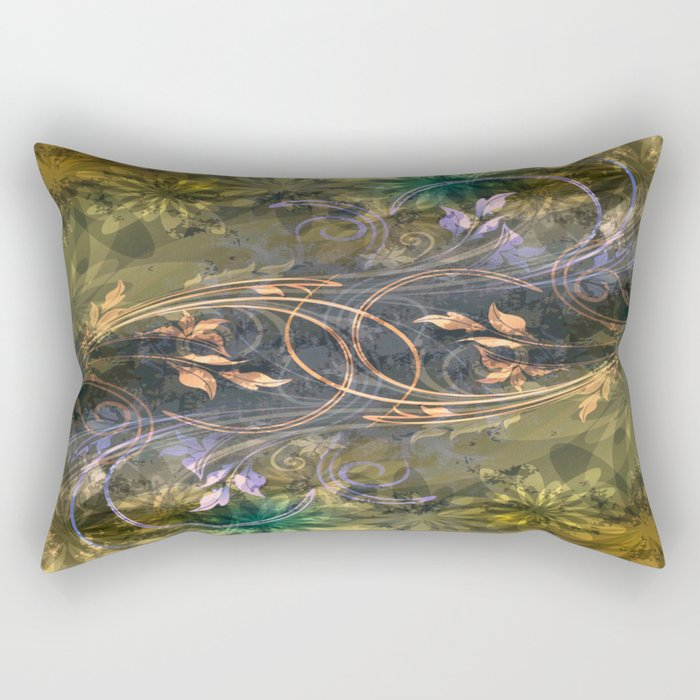 Earth Tone Floral Leaf Swirl Abstract Rectangular Pillow