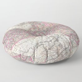 Vintage New York State Railroad Map (1876) Floor Pillow