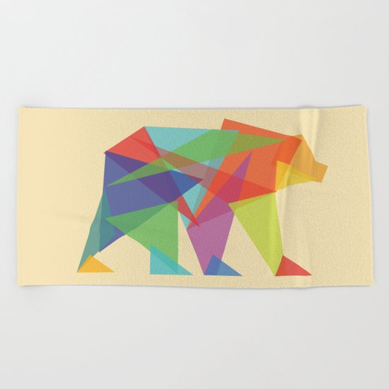 Fractal Geometric bear Beach Towel