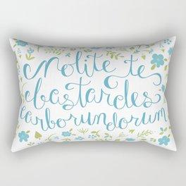 Don't Let the Bastards Grind You Down - Blue Floral Rectangular Pillow