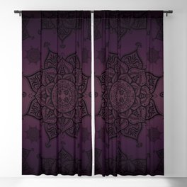 Mandala Violet Black Spiritual Zen Bohemian Hippie Yoga Mantra Meditation Blackout Curtain