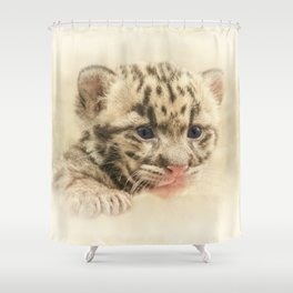 CUTE CLOUDED LEOPARD CUB Shower Curtain
