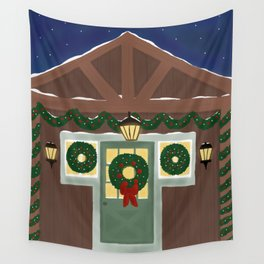Rustic Christmas Night Wall Tapestry