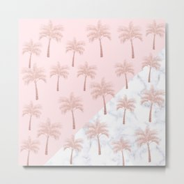 Elegant rose gold glitter palm pattern, white marble & pink Metal Print