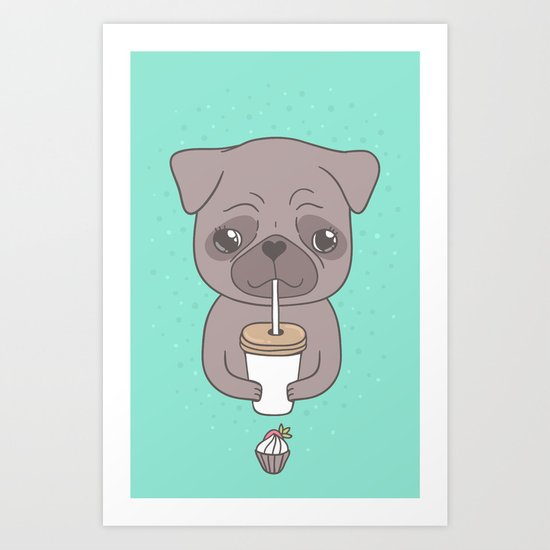 Pug, coffee & cupcake Art Print