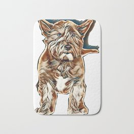 Black West Highland Terrier in front of a white background        - Image Bath Mat
