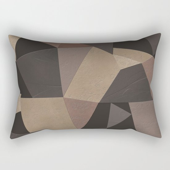 Brown pattern . Leather patches . Rectangular Pillow